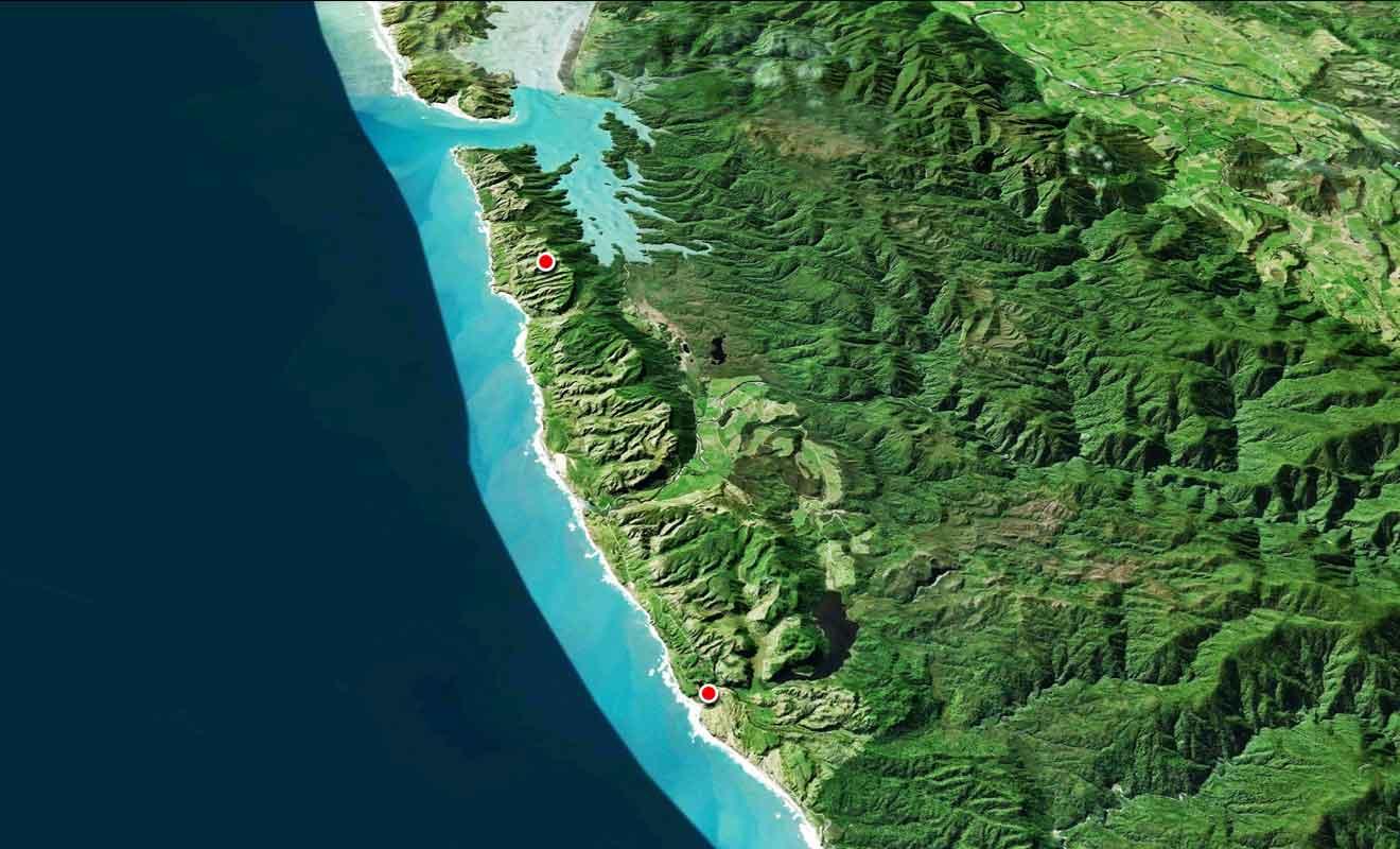 Le trajet entre Te Hapu et Anatori peut sembler court, mais n'oubliez pas que vous roulerez sur une route de gravier.