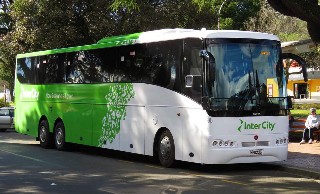 InterCity possède le plus grand réseau de bus de Nouvelle-Zélande.