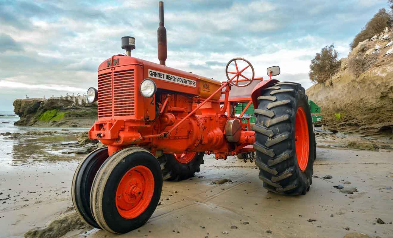 Le tracteur tire une remorque où sont installés les visiteurs.