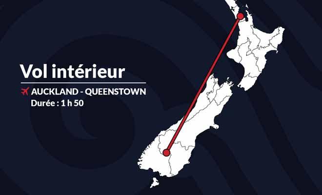 Pour quelqu'un qui connait déjà le pays, un vol intérieur entre Auckland et Queenstown permet d'économiser plusieurs jours de route.