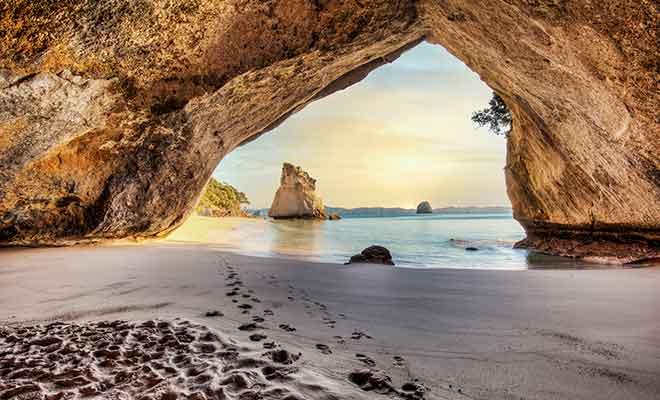 L'immense arche de calcaire sculptée dans la roche a fait la renommée de Cathedral Cove. La plage sert d'ailleurs de décor naturel dans le deuxième volet de la trilogie du Monde de Narnia.
