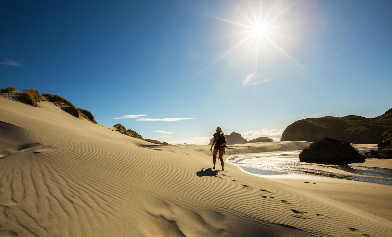 La plage de Wharariki est précédée par des dunes de sable fin.
