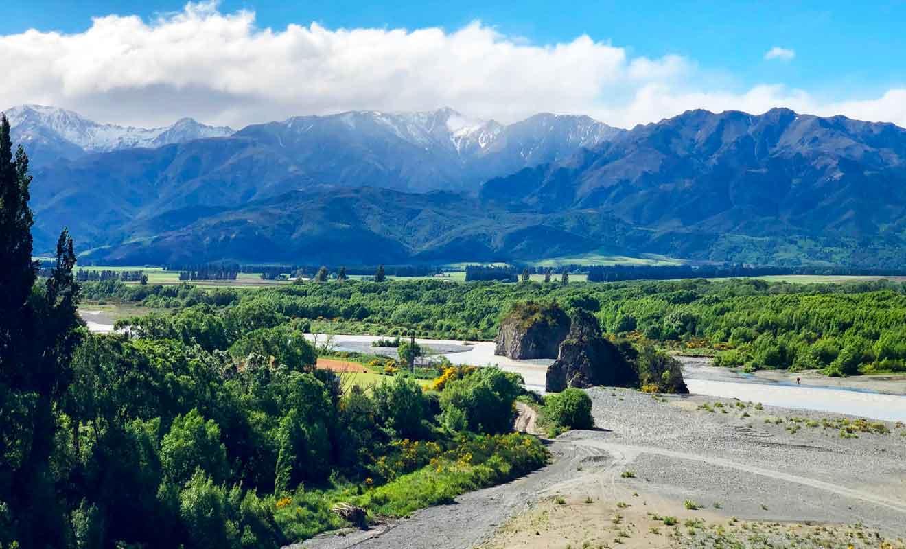 Il faut franchir la rivière Waiau pour rejoindre Hanmer Springs.