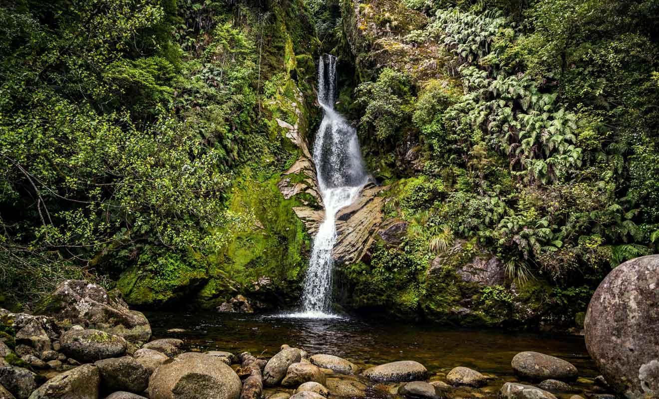 Il suffit de se garer puis de marcher quelques minutes pour rejoindre la cascade en forêt.