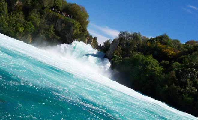 The Huka Falls Jet approaches the fall, but respect a safe distance.