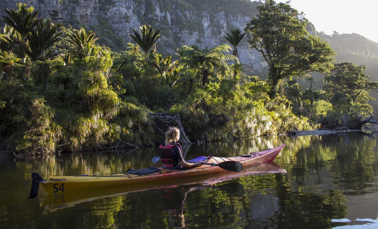 Descendre la rivière Pororari en kayak dans le parc national de Paparoa permet d'admirer des paysages dignes de Jurassic Park.