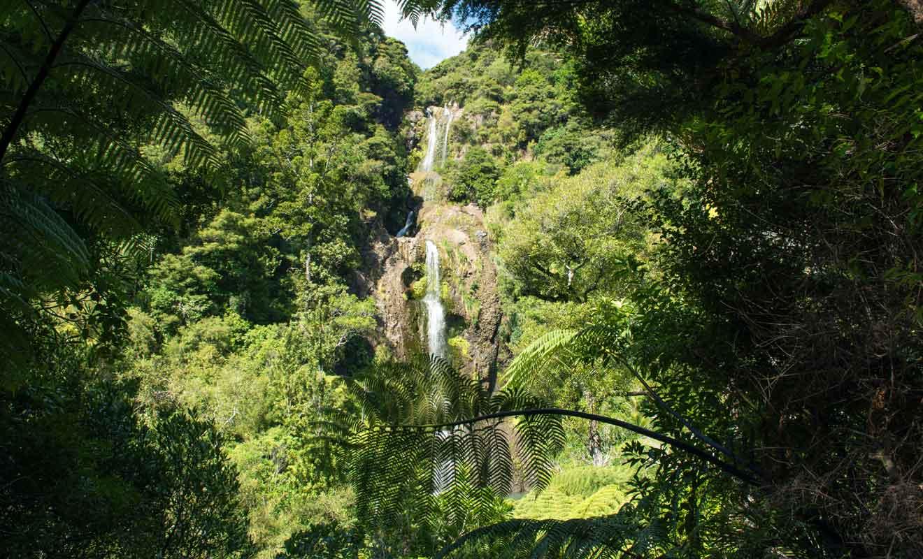 La chute remplit plusieurs bassins avant de rejoindre le pied de la falaise.