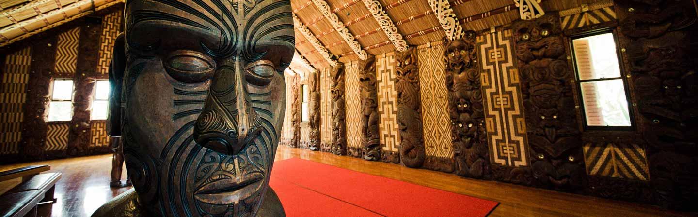 Une sculpture maorie dans un musée de Nouvelle-Zélande.