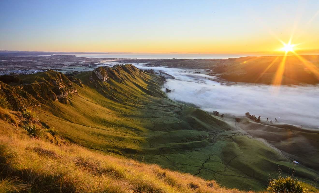 Le sommet de Te Mata Peak peut être rejoint en randonnée, ou directement en voiture, car il y a un parking au sommet... mais la marche est évidemment recommandée.