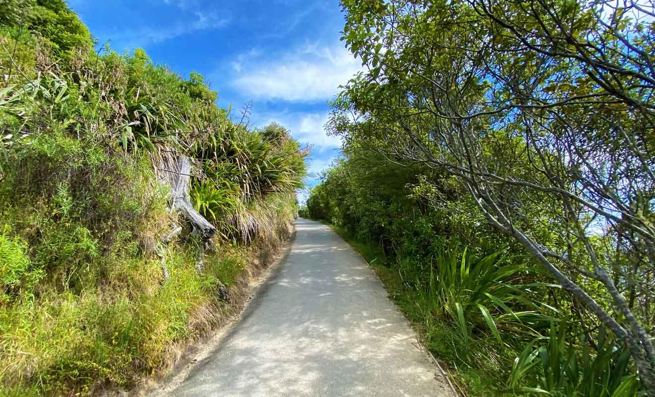 Il faut compter une demi-heure pour monter tranquillement jusqu'au monument qui marque le centre de la Nouvelle-Zélande.