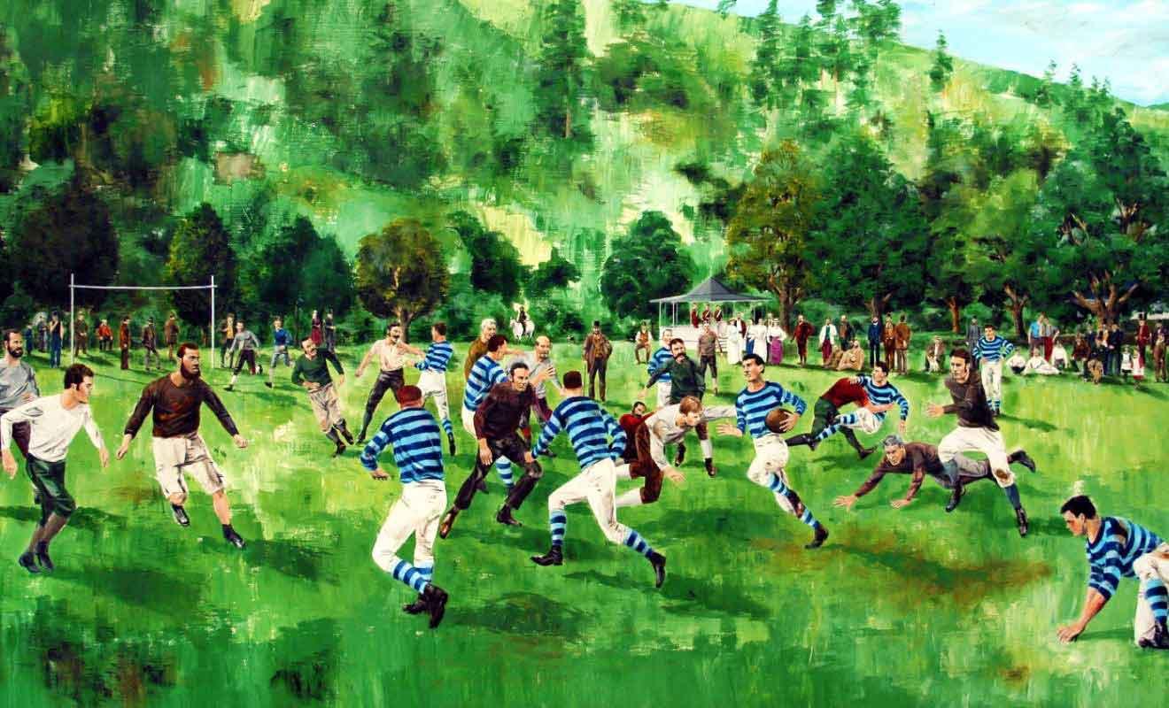 Paul Wilding a peint ce tableau qui représente le premier match de rugby de Nouvelle-Zélande à Botnaical Hill en 1870?