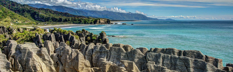 Les Pancake Rocks de Punakaiki se trouvent sur la West Coast de l'île du Sud.