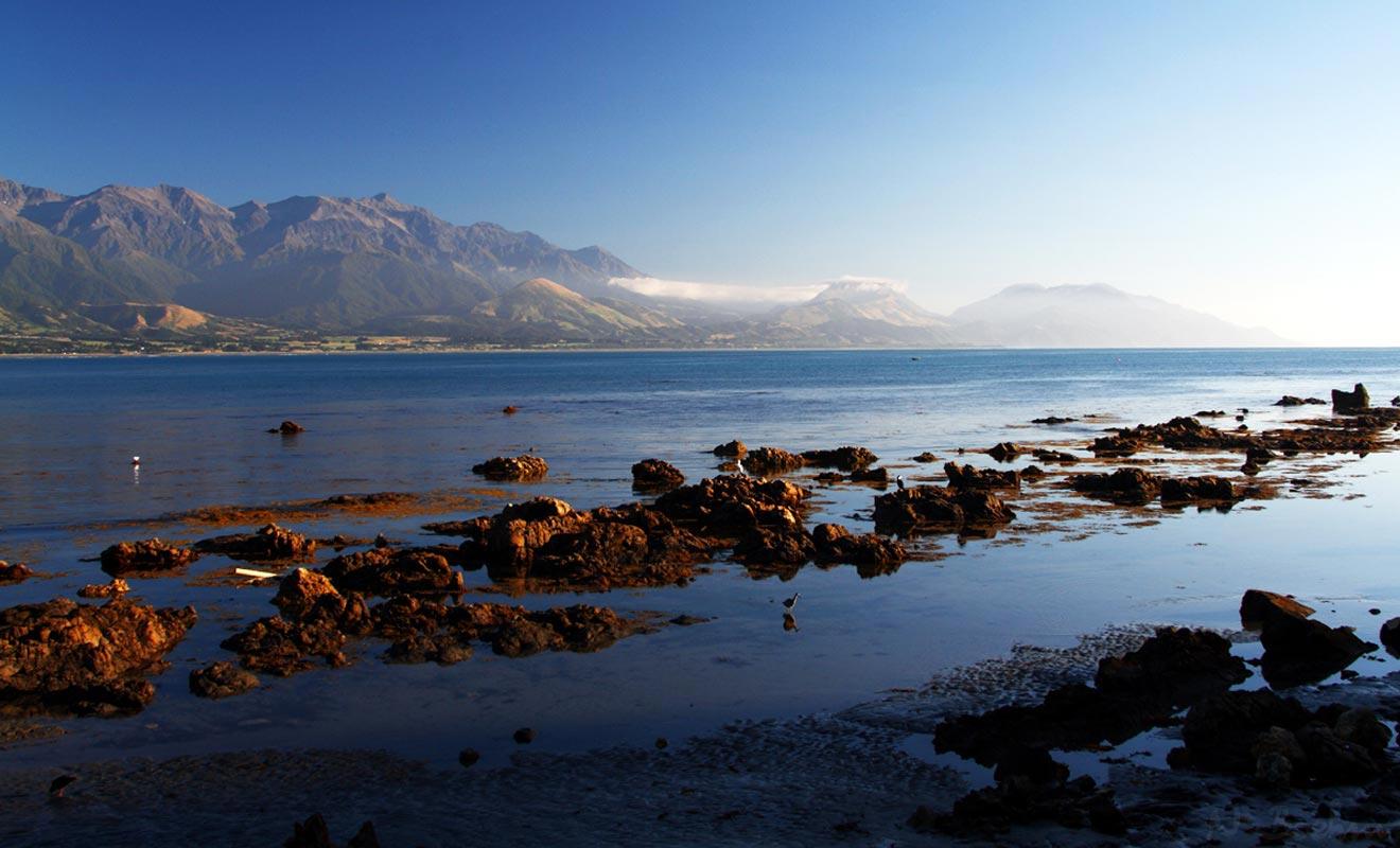 L'aube est un moment privilégie pour photographier la péninsule de Kaikoura.