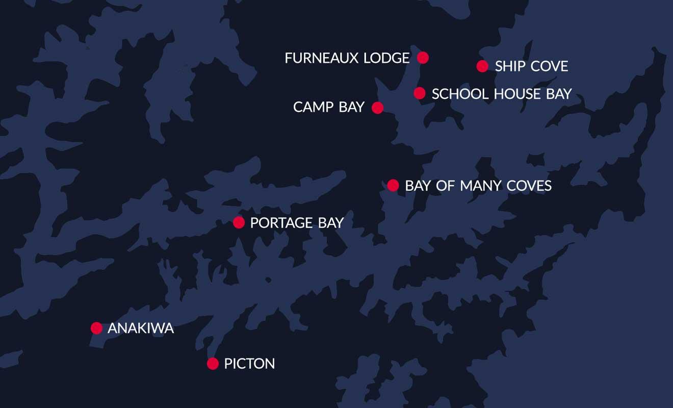 Il suffit de regarder la carte pour réaliser à quel point le bateau est indispensable pour explorer les Marlborough Sounds.