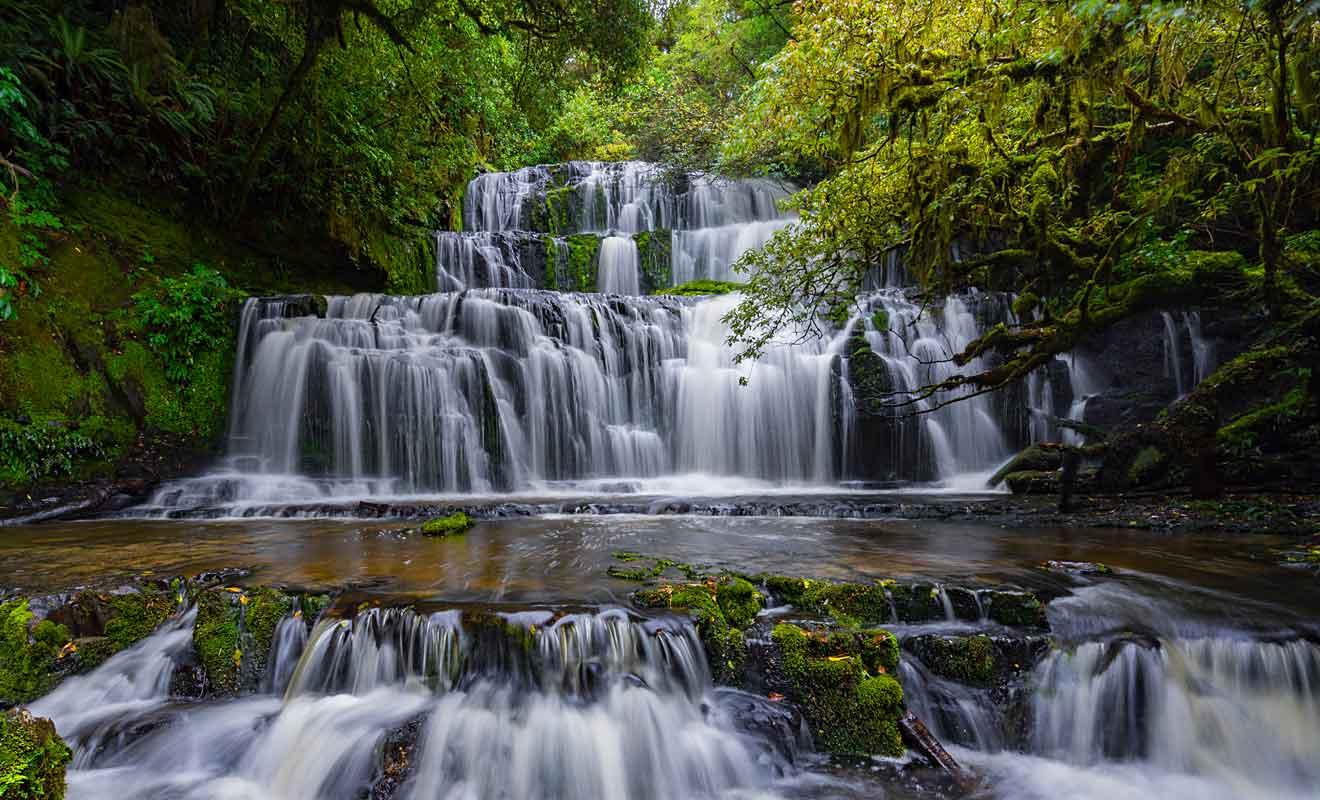 Dans des régions où il tombe plus de sept mètres de pluie chaque année, les rivières engendrent des cascades spectaculaires comme celles des Purakaunui falls.