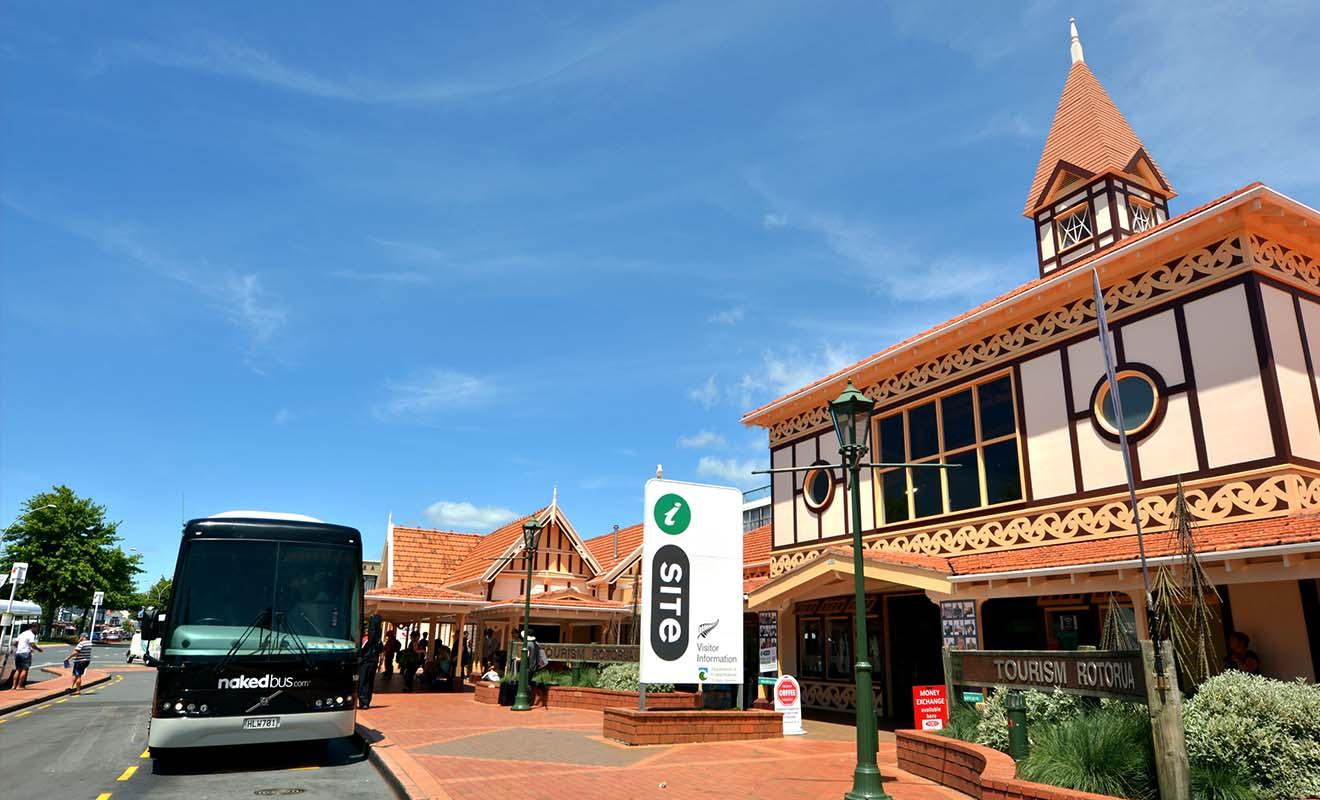 Les bus sont en général garés devant les centres d'information iSite ou à proximité.