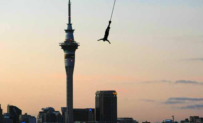 Si vous souhaitez tenter le saut dans le vide à Auckland, il faudra sauter du haut du plus haut pont de la ville, le Harbour bridge. Vous tomberez sur une distance de 35 mètres, puis l'on vous remontera tranquillement en haut.