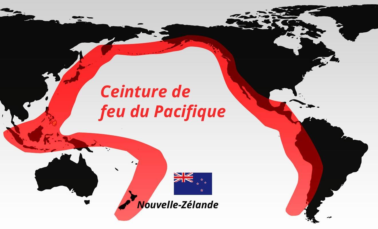 La Nouvelle-Zélande se situe sur la ceinture de feu du Pacifique. Ce qui explique la présence de volcans et d'une forte activité géothermique, principalement sur l'île du Nord.