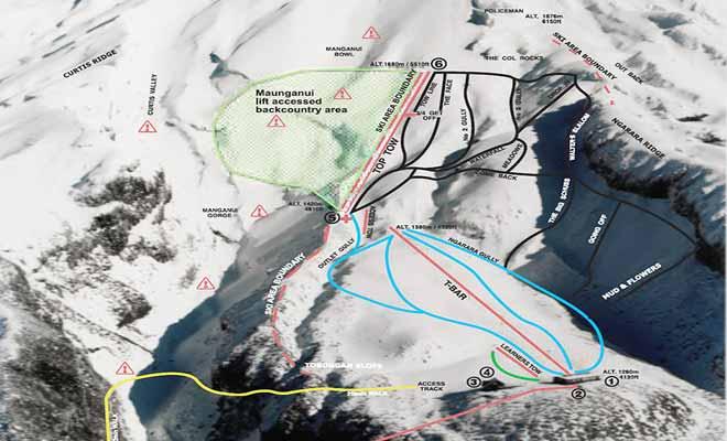 La carte des pistes du mont Taranaki vous aidera à choisir des descentes adaptées à votre niveau de skieur.