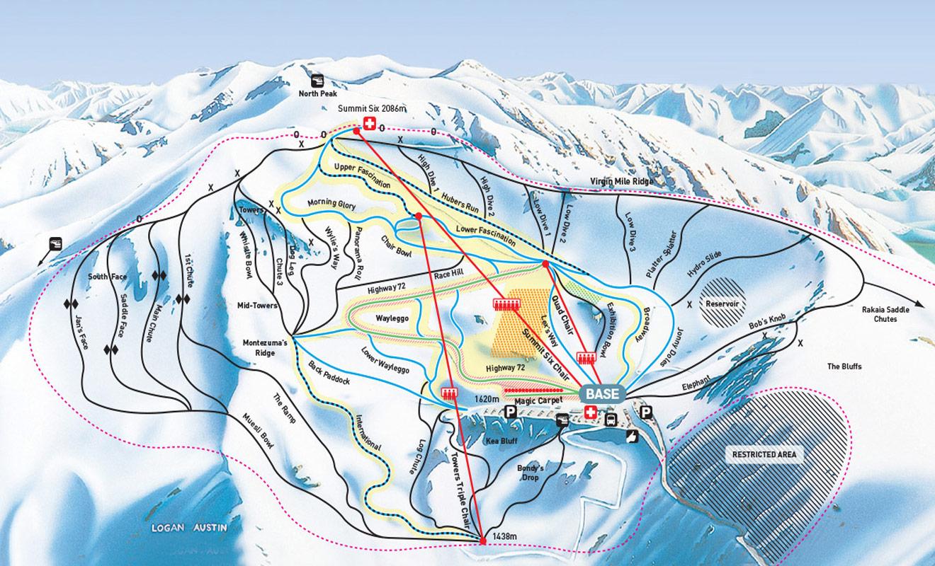 La cartes des pistes du mont Hutt vous aidera à choisir des descentes adaptées à votre niveau de skieur.