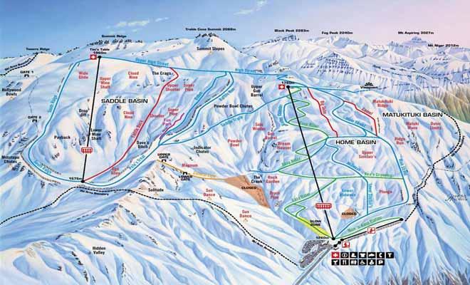 La carte des pistes de Treble Cone vous aidera à choisir des descentes adaptées à votre niveau de skieur.