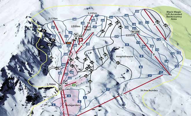 La cartes des pistes de Whakapapa vous aidera à choisir des descentes adaptées à votre niveau de skieur.