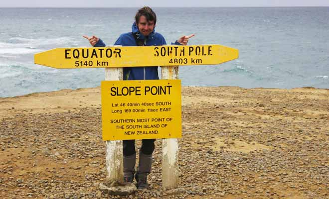 Situé à 5140 km de l'équateur et à 4803 km du pôle Sud, Slope Point est le point le plus au sud de la Nouvelle-Zélande.