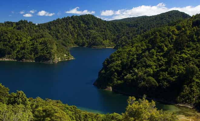 Ce lac d'une superficie de 54 km2 se trouve dans le parc national de Te Urewera, et son nom signifie ''mer d'eaux ondulantes'' en langue maorie.