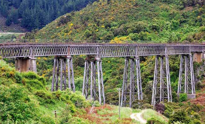 Le Wingatui Viaduct est haut de 47 mètres, et il donne parfois le vertige aux voyageurs qui sont assis du côté de la fenêtre.
