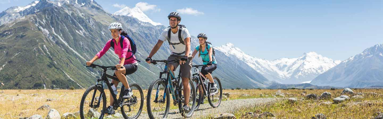Balade en vtt sur une piste de vélo en Nouvelle-Zélande.