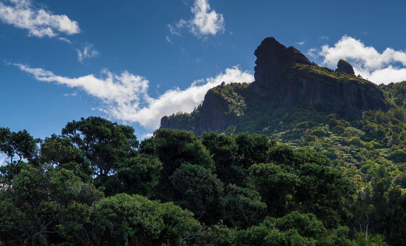 Haut de 403 mètres, le mont Manaia tire ses origines d'une ancienne éruption volcanique, mais dans légende Maorie, il s'agit à la fois d'un monstre à moitié poisson et oiseau.
