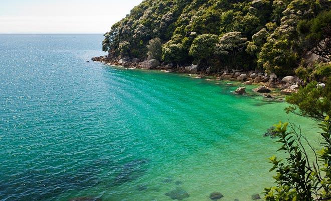 De Abel Tasman Coast Track loopt langs de kust. U kunt rusten en baden in lagunes met turkoois water.