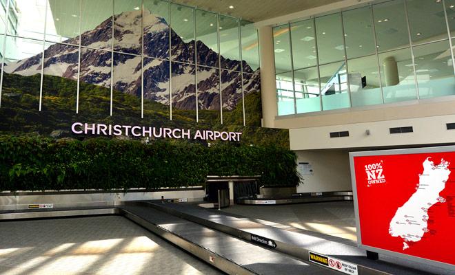 El aeropuerto de Christchurch se toma generalmente para el vuelo de vuelta por los turistas que salen de Nueva Zelandia.