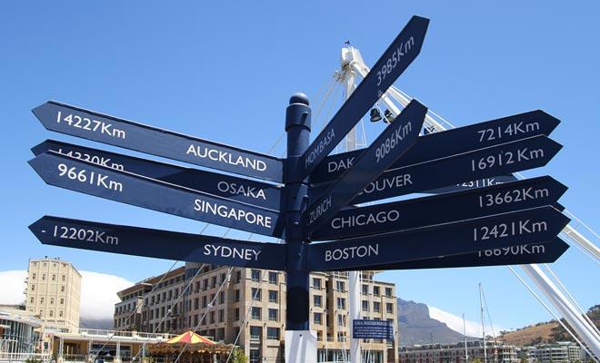 El panel que muestra la distancia con las principales ciudades del mundo es un gran clásico de Nueva Zelanda. Lo encontrarás en todo el país.