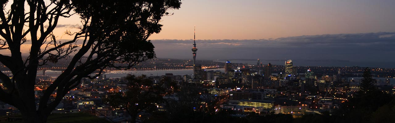 View of Auckland at night from Mount Eden.