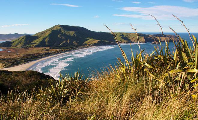 La playa de Allans es una playa famosa de la persona que practica surf cerca de Dunedin en la Isla del Sur de Nueva Zelandia. Incluso si usted no navega, el paisaje merece una visita!