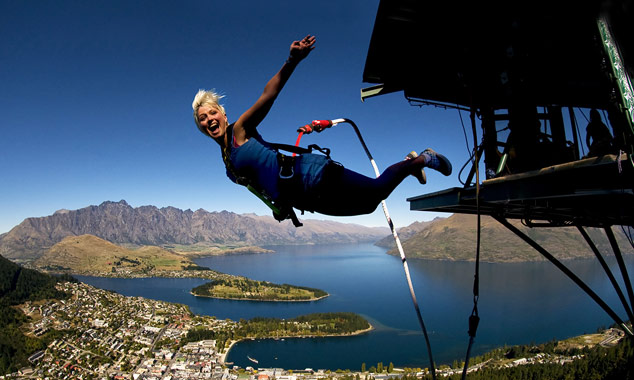 Mujer, hacer, puenting