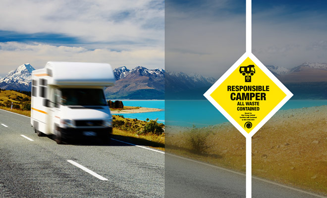 Un autocaravan self-contained ha una certificazione che permette il parcheggio nei campeggi gratuiti della Nuova Zelanda. Per ottenere questa certificazione, il veicolo deve essere in grado di conservare le acque reflue per almeno tre giorni.