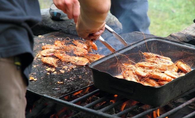 Na uw raftingreis heb je verdiend kracht terug te krijgen, en in plaats van je een miserabele sandwich te bieden, zal de organisator je een stevige barbecue voorbereiden terwijl je een warme douche hebt.