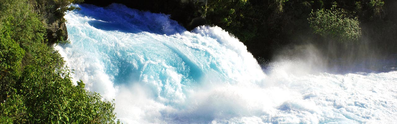 The Huka Falls are very powerful.