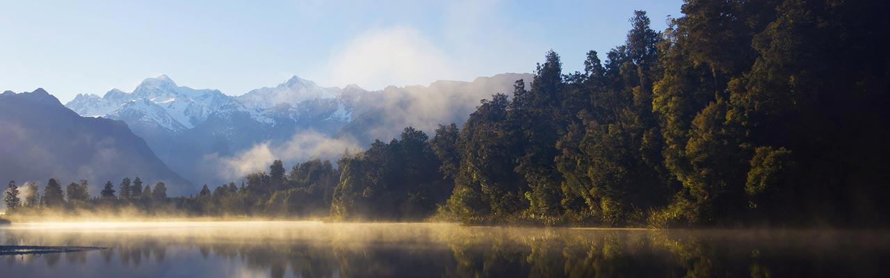 Lake Matheson is famous for its perfect reflection of the mountain.