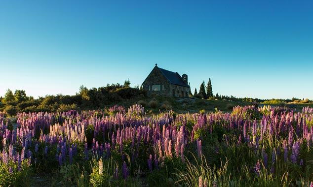 La iglesia del buen pastor cerca del Monte Cook.