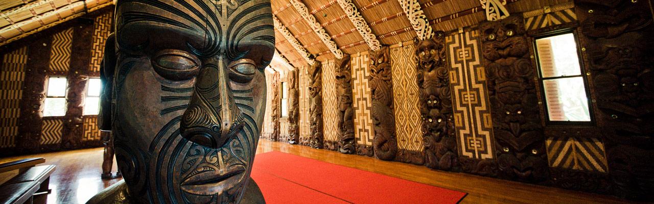 A Maori sculpture in a museum in New Zealand.