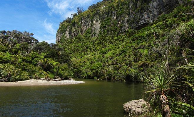 Het Nationaal Park Paparoa biedt veel meer belangstelling dan de Pancake Rocks, maar het is nog steeds onbekend voor de meerderheid van de reizigers. In zijn landschap wordt de film Jurrasic Park onmiddellijk opgewekt.