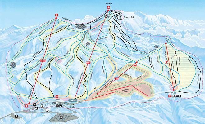 El mapa de la zona de esquí de Coronet Peak le ayuda a elegir descensos específicos adaptados a su nivel de esquí.