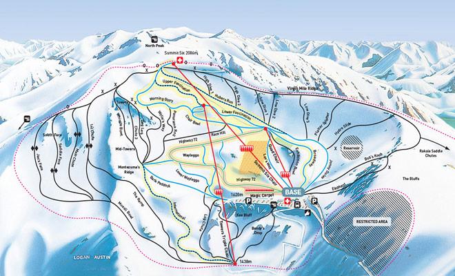 El mapa del sendero de Mount Hutt le ayudará a elegir los descensos adaptados a su nivel de esquí.