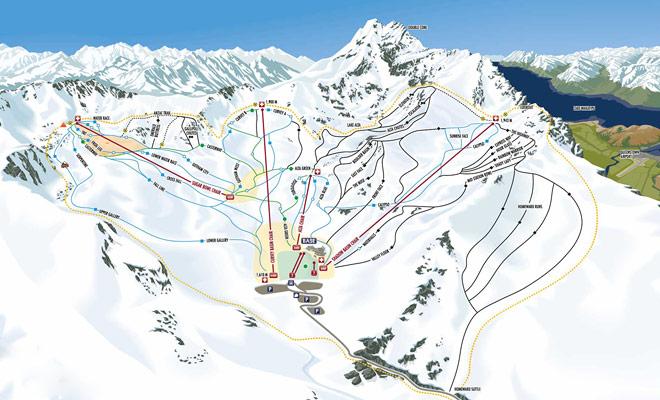El mapa de Remarkables le ayudará a elegir pistas adaptadas a su nivel de esquí.