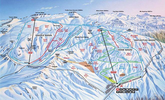 El mapa del área de esquí de Treble Cone le ayuda a escoger pistas de descenso específicas para adaptarse a su nivel de esquí.