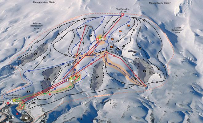 El mapa de pendientes de Turoa le ayuda a escoger los descensos adecuados para su nivel de esquiador.