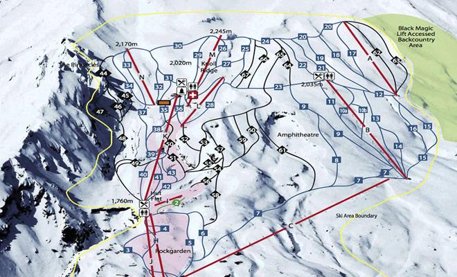 Los mapas del sendero de Whakapapa le ayudarán a elegir los descensos adecuados para su nivel de esquí.